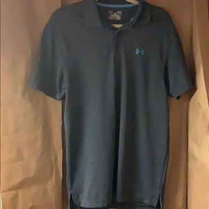 Under Armour, Polo, Grey And Blue, Size Small